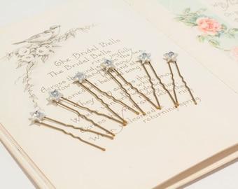 Star Hair Pins - Crystal Star Headpiece - Wedding Star Bobbie Pins - Star Hair Grips- Silver Wedding Stars - Star Hair Accessory - Parisxox