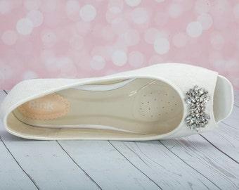 Lace Wedding Flats - Wedding Shoe - Lace Flats - Lace Wedding Shoe Flats - Peep Toe Flat Wedding Shoe - Bridal Flats - Ivory Lace Flat Shoe