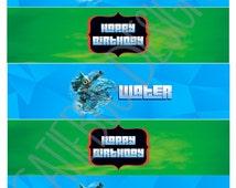 Skylanders Trap Team Birthday Water Bottle Labels