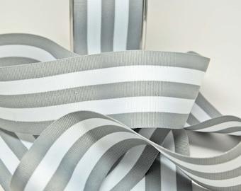 Grosrain Horizontal Stripe Ribbon -- 2 inch -- Gray White -- 2 yards