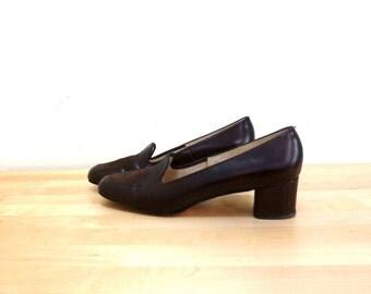 Vintage Womens Penny Loafers / High Heel Loafers / Brown Pumps / Brown Leather Heels / Chunky Heel Shoes / Slip On Heels US 10 AA