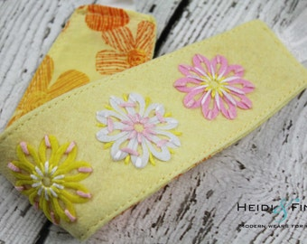CLEARANCE 3 Flowers embroidered Organic Hairband Headband felt OOAK 12M - teen/adult ready to ship yellow pink