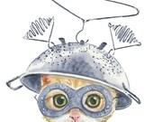 Orange Tabby Watercolor PRINT - 5x7 Illustration Print, Cat Watercolour, Cute Cat, Tin Foil Hat, Nursery Art