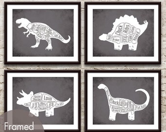 Dinosaur Butcher Diagram series B - Set of 4 Art Prints (Featured in (Featured in Charcoal) Prehistoric Animal Art Prints