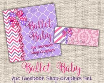 Pink Damask Facebook Timeline Set - Facebook Profile Image - Lavender Timeline Cover - Pink and Purple Shop Banner Set - DIY Download Banner