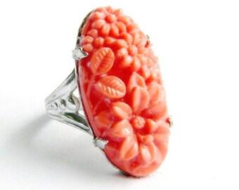 "Vintage Art Nouveau Sterling Silver Carved Coral Glass Ring -  Flower and Leaf Detail - 1"" Long - Size 5"