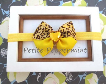 Baby headband, baby girl headband, newborn headband, toddler headband -  Yellow Cheetah Bow Headband