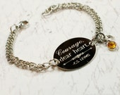 Courage, dear heart, C.S. Lewis quote, oval bracelet, stainless steel with swarovski crystal or pearl