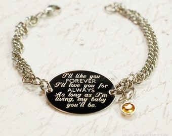 I'll love you forever, I'll like you for always, quote oval bracelet, stainless steel with swarovski crystal or pearl