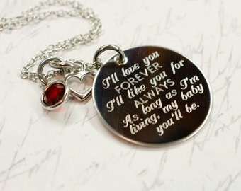 I'll love you forever --- engraved quote necklace