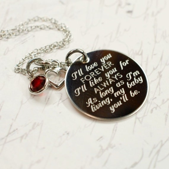 I Ll Love You Forever Quote: I'll Love You Forever Engraved Quote Necklace