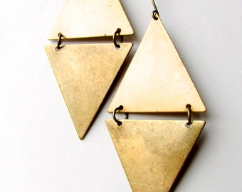 Large brass triangle hinged earrings