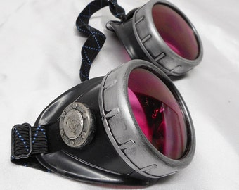 Hand Designed Distressed Antique-Look BLACK and SILVER STEAMPUNK Cyber Welders Goggles w/ Metal Trim - Perfect for Burning Man