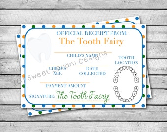 Tooth Fairy Receipt   Orange & Blue Polka Dots   INSTANT DOWNLOAD   Tooth Fairy Certificate
