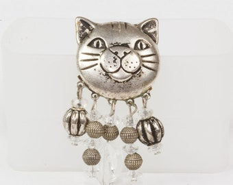 Kitty Cat Brooch Silver Plate Features lined in black Excellent condition 1930s Cartoon quality to the face