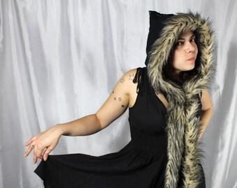 Black Festival Hood// scoodie // pointed hood