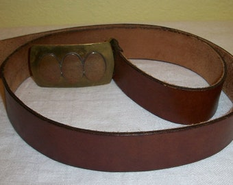 Vintage Leather Belt with Nice Belt Buckle Marked TR