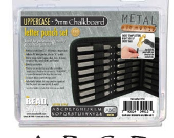 Chalkboard (Papyrus) Font Uppercase Alphabet Metal Stamp Set- 3mm in size- Metal Stamps-Jewelry Stamping Supplies