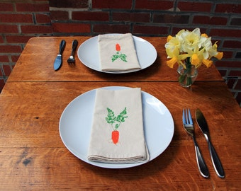 Cotton Napkins - Carrot hand screen printed set of 2 dinner napkins - ecofriendly - reusable napkins for your table setting