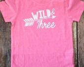 3rd Birthday Shirt Wild and Three Jersey Shirt Third Birthday Hipster Shirt Kids Hipster Wild Birthday Shirt Wild and Free Boho Birthday