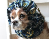 Blue Paisley Dog Snood - Stay-Put 3 Rows Elastic Thread - Long Ear Coverup - Cavalier King Charles or Cocker Snood