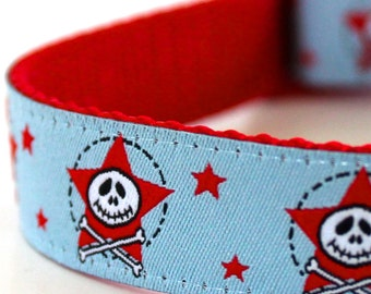 Blue Skull and Crossbones Dog Collar, Adjustable, Stars Pet Collar, Ribbon Collar