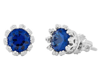 Amira 6mm 1.5ct Brilliant-cut created Blue Sapphire Screw Back Stud Earrings Solid 925 Sterling Silver, JEX30346-0818
