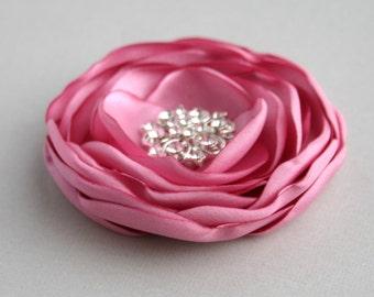 Rose Pink Flower Hair Clip, Antique Pink Flower Hair Pin, Pink Flower Girl Hair Piece, Bridal Headpiece, Flower Hairpiece, Floral Headpiece