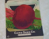 Card Seed Company, Beet seed packet, 1920's unused, Early Blood Turnip