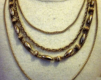 Gold Tone Multiple Chain Necklace with Melon Beads