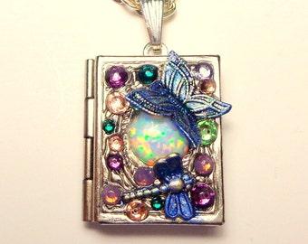 Australian Opal, Locket Necklace, Butterfly & Dragonfly Locket, Opal Necklace, Opal Locket, Book Locket, Swarovski Crystals, OOAK