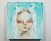 folk art Original girl painting whimsical winter solstice mixed medial art painting on wood canvas 6x6 inches - Solstice Eve