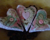 Valentines Day Folk Art Heart Ornies-Bowl Fillers-Set Of 3-FAAP