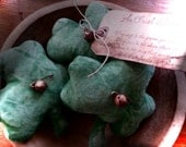 St Patricks Day Primitive Shamrock Ornies-Bowl Fillers- Set of3-FAAP