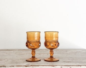 Set of Vintage Amber Glass Wine Goblets, Drinking Glasses, 1960's, Indiana Glass