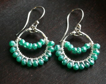 Green mystic quartz earrings, boho, sterling silver, dangle earrings, beaded, gemstone, drop earrings, Mimi Michele Jewelry