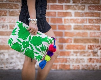 Oversized Michelle Clutch in Otomi Textile