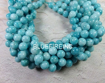 32 pcs Blue Color Larmamar Jade Round Smooth Beads Full strand In 12mm