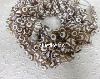 37 pcs16 inch long 10mm round faceted Tibetan agate beads
