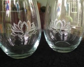 Zen Yoga Relaxation Hand Engraved Wine Glass - Lotus Flower - Inhale - Exhale - Repeat