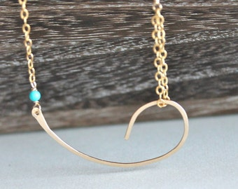 Gold and Turquoise Necklace, Turquoise Jewelry,Gold Filled  Necklace, Curved Bar Necklace