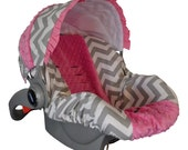 Baby Car Sear Cover, Infant Car Seat Cover, Slip Cover- Grey Chevron & Hot Pink Minky