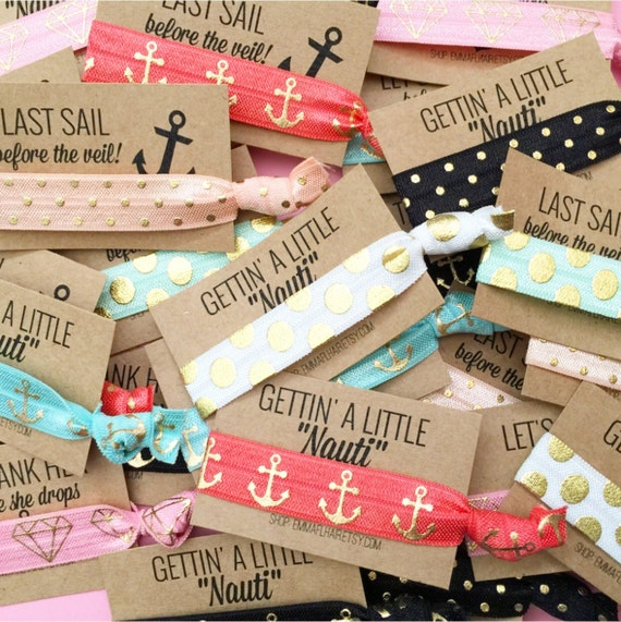 Nautical Sailor Themed Card Bachelorette Party Favor Hair Ties
