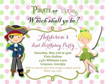 Pirate and Pixie Birthday Invitation-Digital File