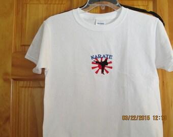 Karate tee shirt-   boys- embroidered