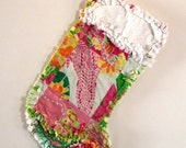 Lilly Pulitzer Christmas Stocking Punchbowl Patch