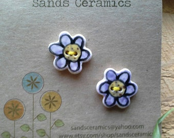 Ceramic Flower Button small purple 2