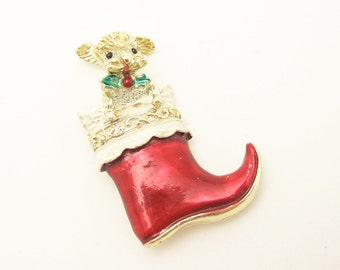 Vintage Christmas Stocking Brooch Puppy Holiday Jewelry P6513