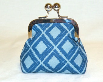 Happy Little Coin Pouch in Diamond Patterned Ikat Design in Light Blue and Dark Blue