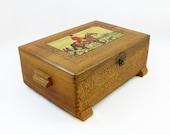 Vintage Decorative Hinged Wooden Box - Jewelry Box